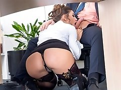 In Private's Whistleblower, Spanish secretary Julia Roca and her hairy pussy have some fun! This office slut sucks on her boss's hard cock,