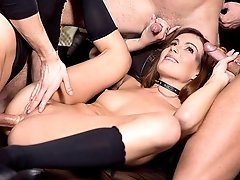 Samantha Joons gets a birthday treat when three men take her back stage and take turns smashing her in. She begins by slowly sucking all of them until