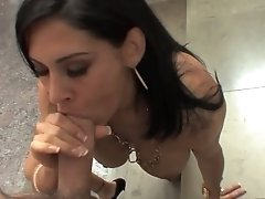 Raylene slipping uncut cock between her lush lips